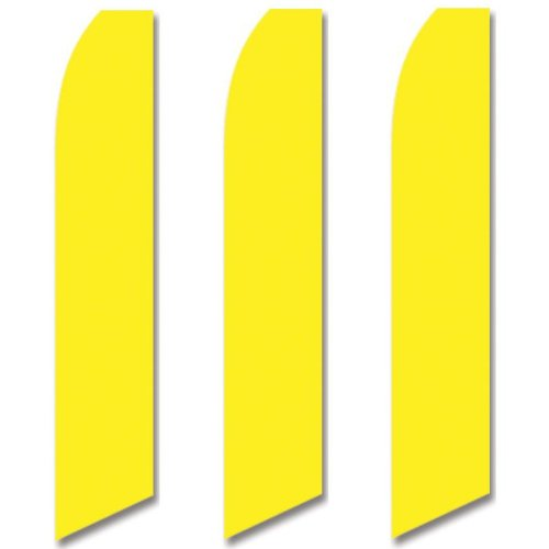- 3 (three) Pack Tall Swooper Flags Bright Lemon Yellow Solid Plain Color