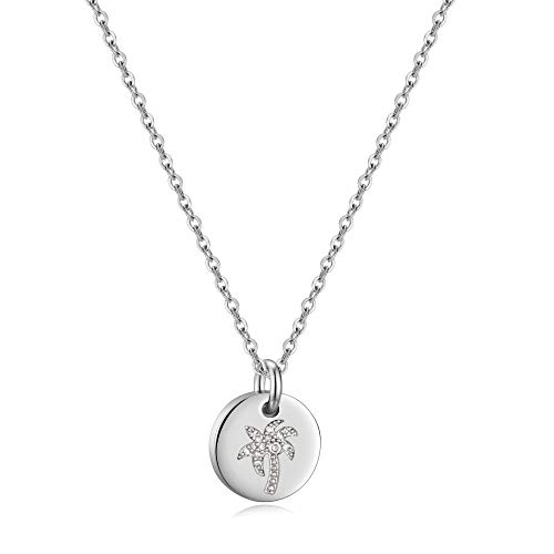 (Palm Tree Necklace for Women Gifts - White Gold Plated Disc Palm Tree Pendant Palm Tree Quotes Necklace for Women Girls, Dainty Necklace Best Travel Gifts Journey Gifts for Women Girls )