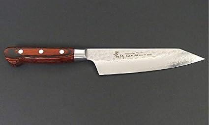 Sakai Takayuki Hammered Damascus 33 Layer Vg-10 Kiritsuke Kengata Santoku Knife 160mm