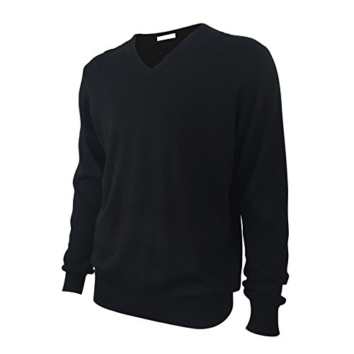 Mens Basic Long Sleeve V Neck Wool Knitted Pullover Sweater Black L