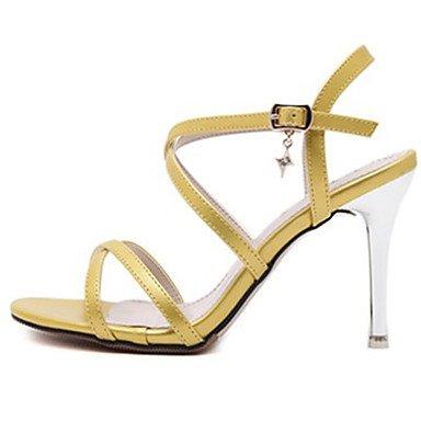 Stiletto LvYuan Negro Otro Patentado Yellow Amarillo Rojo Blanco Mujer Tacón Vestido Sandalias Cuero xEOEr