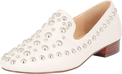 Cambridge Select Women's Silver Dome Studded Smoking Driving Loafer,9 B(M) US,Nude PU