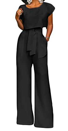 PinUp Angel Black Casual Cropped Jumpsuit Two Pieces Tie Front Wrap Wide Leg Fancy (Satin Jumpsuit)