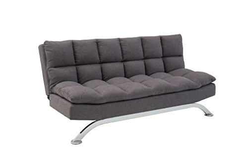 Microfiber Convertible Futon (Pearington Pillow Top Bella Futon Sofa Lounger, Grey)