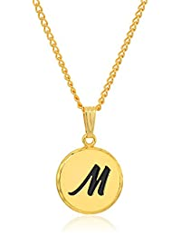 Halos and Glories Letter M Shiny Gold Pendant Necklace