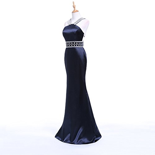 Besswedding Robes De Soirée Longues De Bal Sirène Licol Femmes Avec Le Train Noir Dos Nu