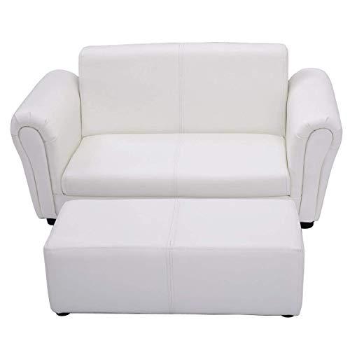 HONEY JOY Kids Sofa Set 2 Seater Armrest Children Couch Lounge w/Footstool (White)