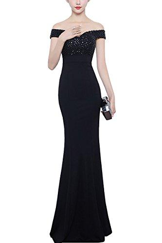 KAXIDY Encaje Largos Vestido Elegante Mujer Vestidos Vestidos de Novia Vestidos Noche Negro