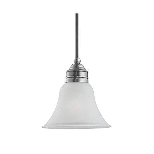Sea Gull Lighting 61850-965 Pendant with Satin EtchedGlass Shades, Antique Brushed Nickel - Stone Glass Etched Antique