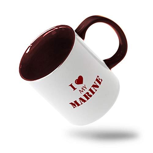 Style In Print Maroon I Love My Marine #1 Ceramic Cup Colored Mug - Maroon
