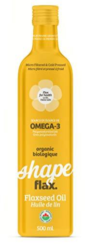 ShapeFlax. Premium Prairie-Grown Organic Flaxseed Oil, 16 OZ Glass Bottle by ShapeFlax