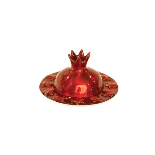 Yair-Emanuel-Aluminum-Pomegranate-Honey-Dish-in-Red