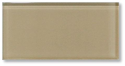 Sample Color Swatch of Sandy Beach Brown 3x6 Glass Subway Tile