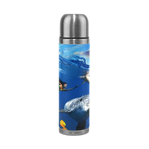 AURELIOR Colorful Underwater Coral Scene With Dolphins Fish Pattern Double Wall Vacuum Cup Insulated Stainless Steel Water Bottle Travel Mug Thermos Coffee Cup 17 oz