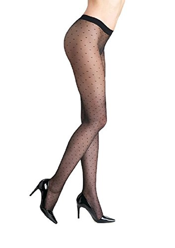 Marilyn Designer Tights w/Polka Dot Pattern (Black,M) ()