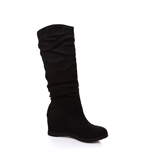 AdeeSu Ladies Glass Diamond Color Matching Thick Bottom Heel Frosted Boots Black N6PfCO