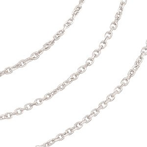 14k White Gold Solid Diamond Cut Cable Chain, 20'' by The Men's Jewelry Store