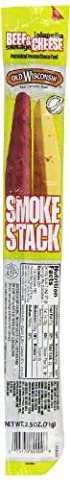 Old Wisconsin Smoke Stacks Beef Sausage with Jalapeno Cheese, 2.5-Ounce Packages (Pack of 18) - Old Wisconsin Snack Sticks