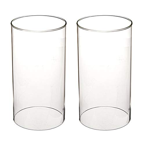 SG Clear CandClear Candle Holder Glass Chimney for Candle Glass Cylinder Open Ended Clear Glass Lamp Shade Open 3.5