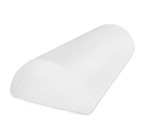 Half Moon Pillow - Half Cylinder Pillow Provides Best Support for Lumbar - Neck - Knee and Leg with Removable Poly-cotton Cover (White).