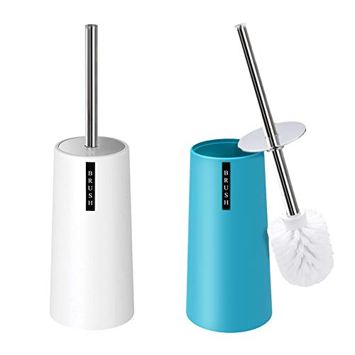 Kelamayi Toilet Brush and Holder-[2 Pack], Simple Solid Color Toliet Brush Holder with Upgraded Length Stainless Steel Toilet Brush Handle, Suitable for The Modern Home Décor-[Light Blue & White]