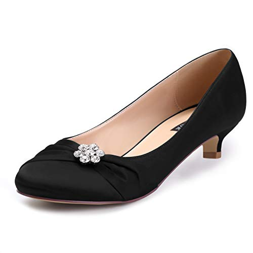 - ERIJUNOR E0110 Women Closed Toe Comfort Kitten Heels Rhinestones Satin Wedding Evening Dress Shoes Black Size 7