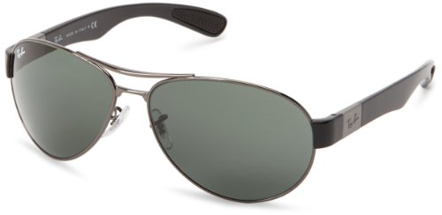 Ray-Ban RB3509 - GUNMETAL Frame GREEN Lenses 63mm - Sunglasses Ban Collection Latest Ray