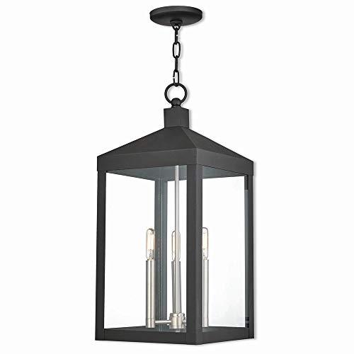 Livex Lighting 20587-04 Nyack Black 3 Light Outdoor Pendant Lantern,