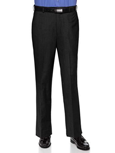 Cuff Dress Pants - RGM Dress Pants for Men Slim fit Modern Flat-Front - Formal Business Wrinkle Free No Iron Black 31W x 29L-Slim