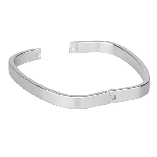 SM SunniMix Square Smooth Stainless Steel Promise Couples Cuff Open Bracelet Bangle Lovers Gifts - Silver 8mm