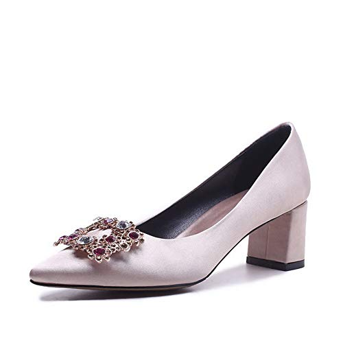 Champagne Studded Shoes BalaMasa Womens Pumps Urethane APL11034 Nubuck Beaded ZOOqfw