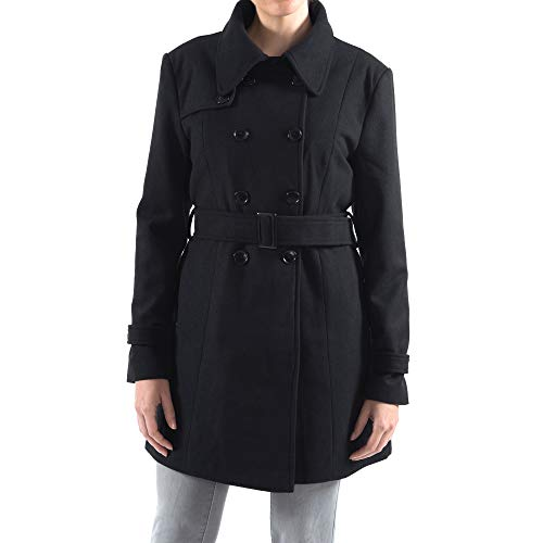 (alpine swiss Keira Womens Black Wool Double Breasted Belted Trench Coat Medium)