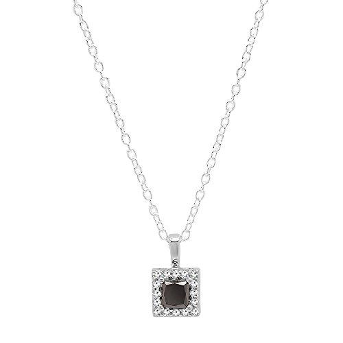 Dazzlingrock Collection 0.55 Carat (ctw) 14K Princess Black & Round White Diamond Ladies Square Pendant 1/2 CT, White Gold