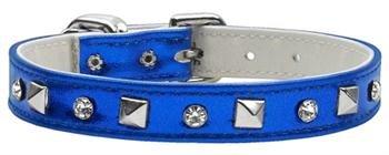 "Mirage Shiny Royal Blue Metallic Austrian Crystal & Pyramid Spike Metal Studded Dog Collar Size 12 (9""-11"")"