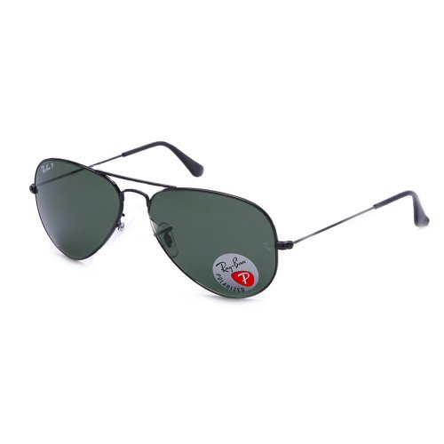 Ray-Ban RB3025 Aviator Polarized Sunglasses, Black/Polarized Green, 62 ()