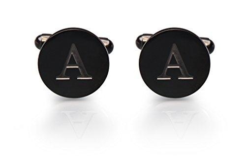 Men's Cobalt Black Engraved Initial Cufflinks with Gift Box– Premium Quality Personalized Alphabet Letter (A) (Designer 14k Gold Cufflinks)