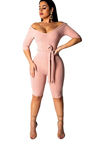 Rib Short Sleeve One Piece - OLUOLIN Women Sexy Off Shoulder Short Sleeve V Neck Solid Ribbed Bodycon Romper Short Jumpsuits with Belt Pink