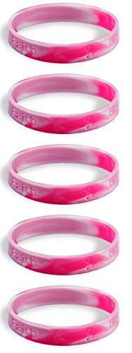 (5 Adult Breast Cancer Awareness Pink Ribbon Camouflage Silicone Bracelets - Adult Size Show Your Support 2 Bracelets - Made of 100% high quality silicone)