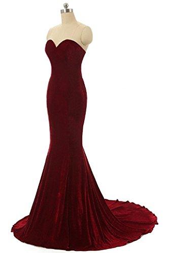 Brautjungfer Baijinbai Frauen Kleider Rot Dunkel Meerjungfrau Partei Abendkleid Lange