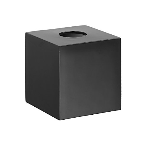 Kraftware Bath & Home Metropolitan Boutique Tissue Holder, Black (Resin Boutique Tissue Box)