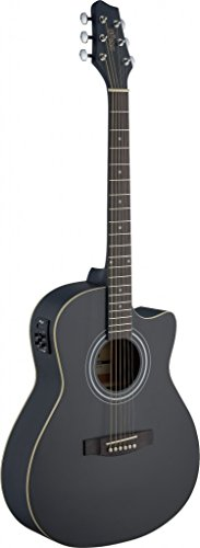 Stagg SA30ACE-BK Auditorium Cutaway Acoustic-Electric Guitar – Matte Black