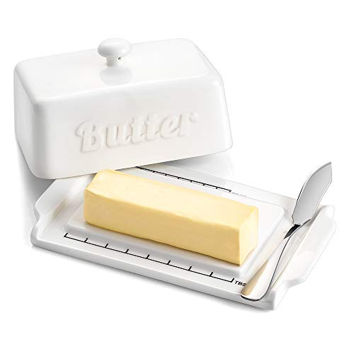 DOWAN Butter Dish with Steel Butter Knife, Porcelain Keeper with Lid, for both East and West Coast Butters, White