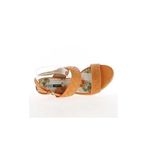 Sandales compensées oranges à talons de 8,5 cm et plateau de 2 cm