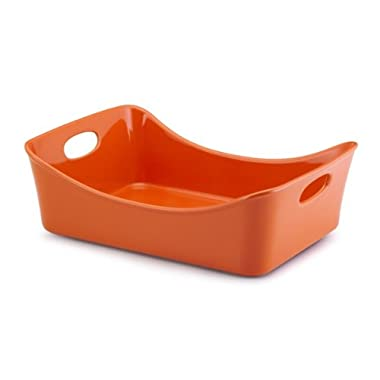 Rachael Ray Stoneware 9-Inch by 13-Inch Rectangular Lasagna Lover Pan, Orange