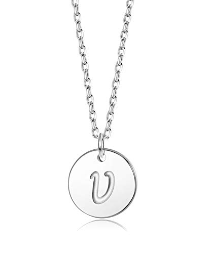 Sllaiss Initial Pendant Necklace Round Disc Engraved Letter Pendant 925 Sterling Silver Personalized Alphabet Pendant for Women Girls Teen (V)