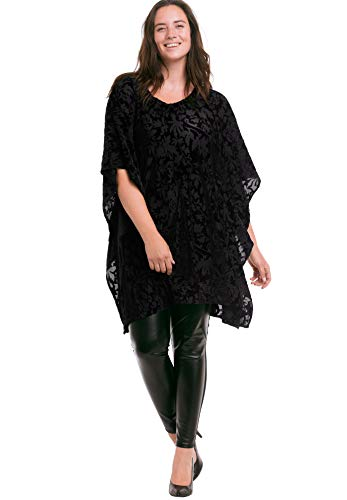 Ellos Women's Plus Size Burnout Velvet Tunic - Black, 10/12 ()