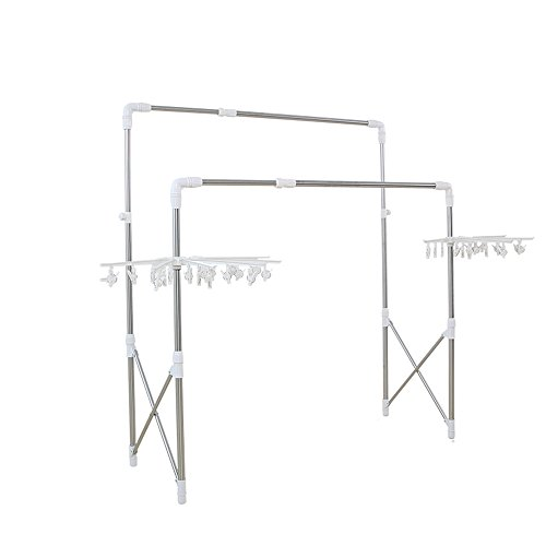 Stainless steel, outdoor, balcony double bar, floor stretch