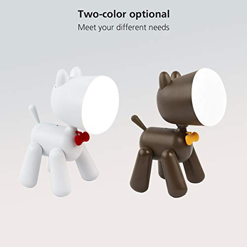 Ear&Ear Cute Night Light for Kids Table lamp for Reading Dog Night Light for Boys and Girls, Christmas Gift with 2 Lighting Modes-Brown