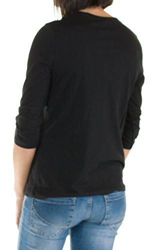 amp; Larga Camiseta S H Manga Fashion Mujer Negro De Para Pw766qY