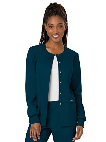 Cherokee Women's Snap Front Warm-up Jacket, Caribbean Blue, Small